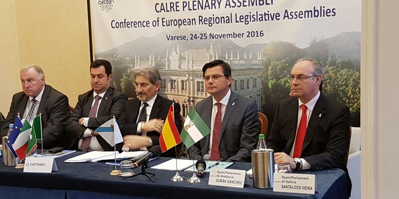 Presidencia del Plenario de la CALRE en Varese