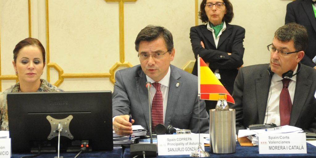 Pedro Sanjurjo, durante la reunión del Plenario de la CALRE