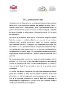 Declaración Institucional COPREPA 2021